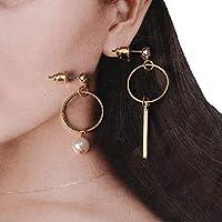 COMVIP レディース ピアス おしゃれ ファッション 耳飾り 1ペア イレギュラー イヤリング シンプル パーティー プレゼント ゴールド