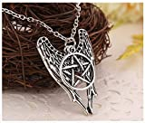 Supernatural necklace pentagram Pentacle Castiel angel wings vintage antique silver pendant jewelry