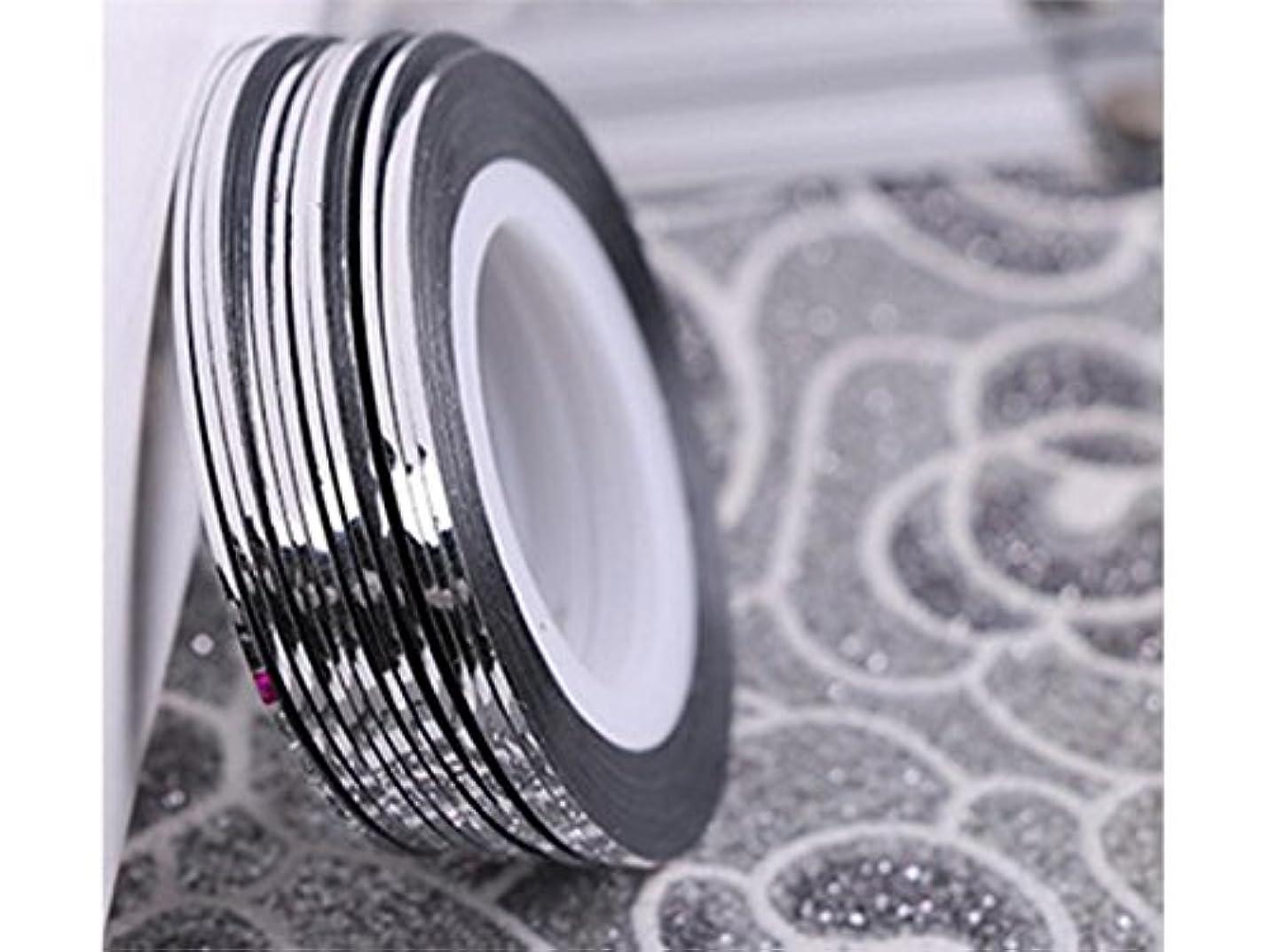 保育園吸い込む比較的Osize ネイルアートキラキラゴールドシルバーストリップラインリボンストライプ装飾ツールネイルステッカーストライピングテープラインネイルアートデコレーション(シルバー)