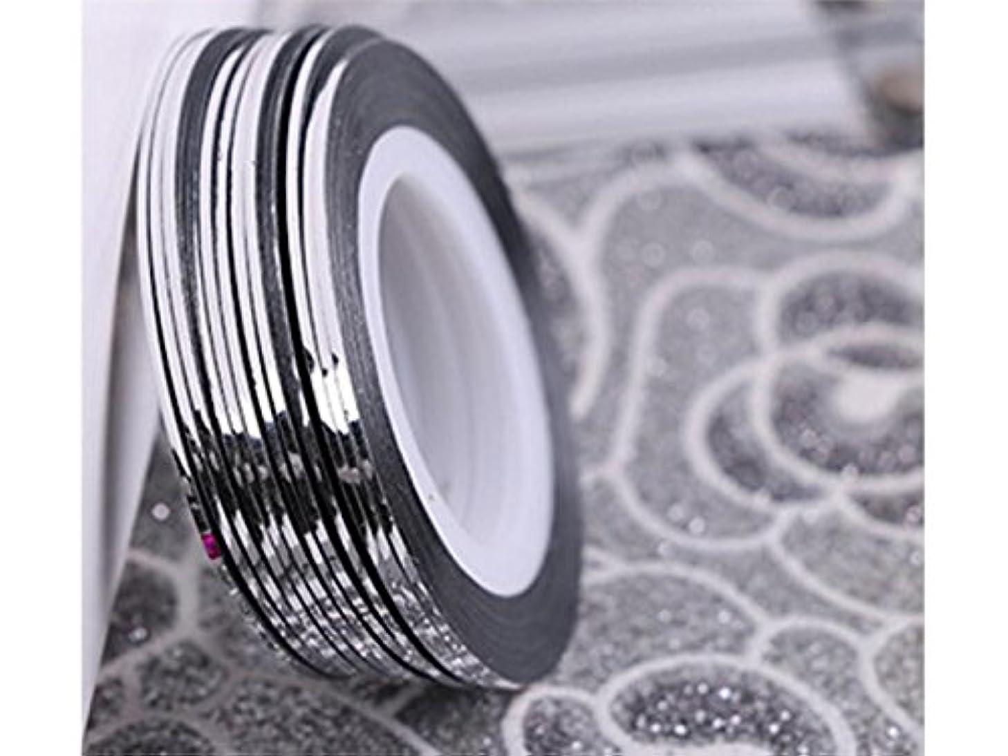 救援霊繁栄するOsize ネイルアートキラキラゴールドシルバーストリップラインリボンストライプ装飾ツールネイルステッカーストライピングテープラインネイルアートデコレーション(シルバー)