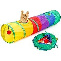 Legendog 猫 トンネル 折り畳み キャット おもちゃ 面白い 愛猫 玩具 通気性 ペット 用品 遊び道具 二つ穴付き カラフル キャンバス
