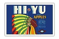 HiYu ブランドりんご - ワシントン州ウェナチー - ノーザンフルーツカンパニー - ビンテージなフルーツの木箱のラベル c.1930s - アートポスター - 31cm x 46cm