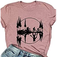 MAOGUYUN Women Stranger Things Hawkins Middle School The Upside Down Shirt Short Sleeve Cute Graphic Tee Tops