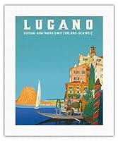 ルガーノ - 南スイス - ルガーノ湖 - ビンテージな世界旅行のポスター によって作成された レオポルド・メトリコヴィッツ c.1958 - キャンバスアート - 41cm x 51cm キャンバスアート(ロール)