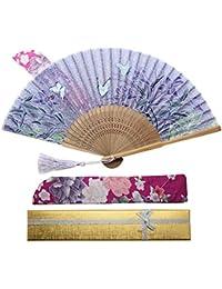 Boshiho 扇子 & 扇子袋 扇 和風 和装 高級シルク 正絹 綺麗 花 花柄 レディース おしゃれ 上品 華やか 防暑 …