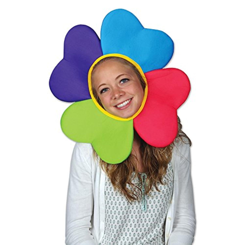 パックの6マルチカラー花びらPlush Flower in the Garden Party帽子