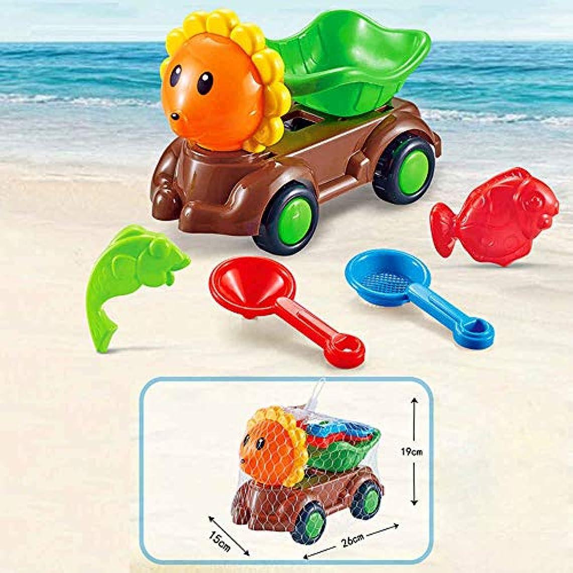 ドアミラーシャー乱闘子供のビーチおもちゃセット、ビーチ城とカビ、シャベル、熊手、じょうろ、砂ふるい,5-piece set of sunflower beach buggy