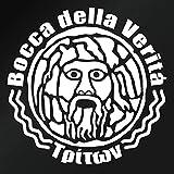 【「真実の口」モチーフ 海神トリトン ステッカー 2枚組 幅約19cm×高約19cm】白(ホワイト)