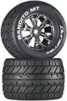 (Mounted, Bandito, Chrome) - Duratrax Bandito MT 9.7cm RC Monster Truck Tyres with Foam Inserts, CS Sport Compound, Mounted on Chrome Wheels (Set of 2)