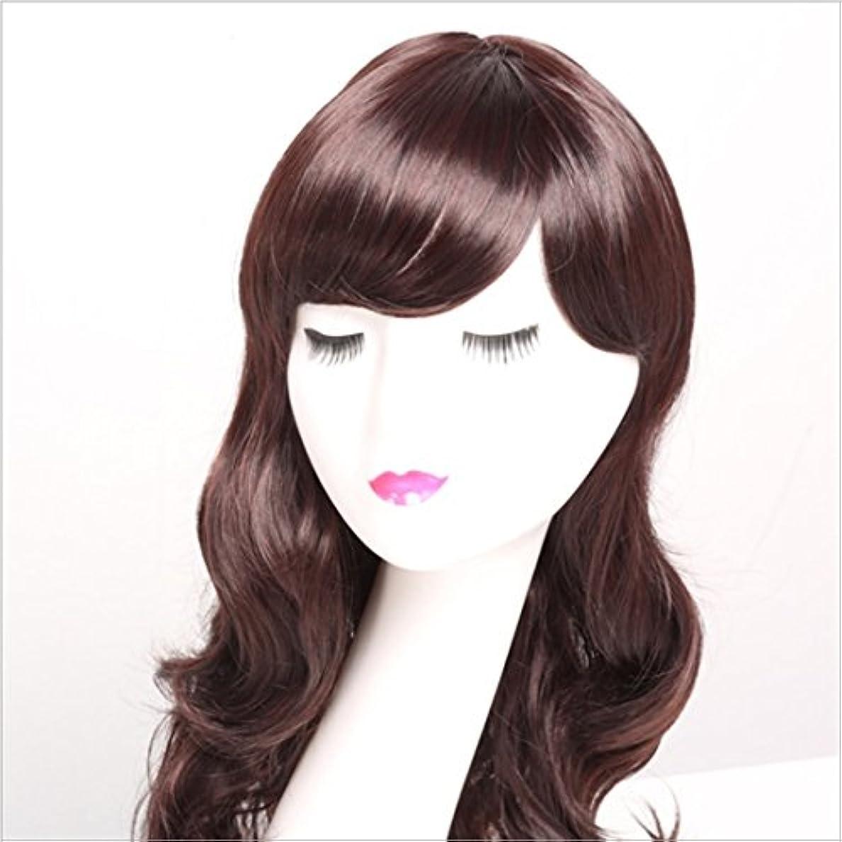 グローバル高音担当者JIANFU (ダークブラウン、ブラック、ライトブラウン)女性のための合成長いカールウィッグ人間の髪大きな波カールショルダーウィッグ斜めバングズと女性のための自然な色180グラム (Color : Dark brown)