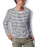 Doublefocus シンプル&ボーダーTシャツ メンズ ティーシャツ シンプル 人気 トレンド M 長袖 ホワイト×ネイビー ボーダー