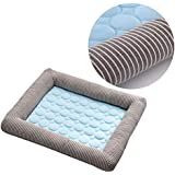 POPETPOP Dog Cooling Bed-Pet Cushion Dog Cooling Mat Self Cool Pads for Puppy Cats Sleeping Reduce Joint Pain Ideal for Indoor Home Travel (Blue, L, 70x52cm)