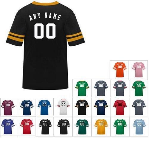 アスレチックスポーツストライプスリーブシャツ ポリコットンジャージ (あらゆるスポーツに :サッカー フットボール 野球 カジュアルウェア スクールウェア) 21色 ジュニアサイズ8 / 大人サイズ カスタマイズ (背中に名前と番号) L
