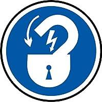 ISO安全シンボルマークが完成したらドアをロックする - 自己粘着ステッカー50mm