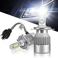 LEDヘッドライト 9V-30V車用 H4 LED ヘッドライト Hi/Lo切り替え 72W (36W x2) 7200ルーメン 車検対応 LED バイク トラック 6000K高輝度ホワイト COB全面発光チップを採用 LEDバルブ 一体型設計 2本セット 12ヶ月保証