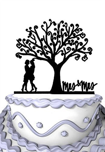 Meijiafei Wedding Cake Topper - Lesbian Together Under the Tree Silhouette with Script Mrs & Mrs Party Decoration [並行輸入品]