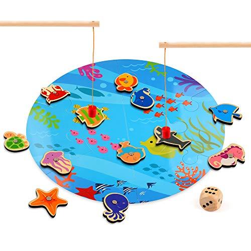 さかなつりゲーム 木のおもちゃ Beebeerun マグネット お魚釣り 木製 子供 知育玩具 磁気 パズル フィッシングゲーム 磁石 親子 釣り遊び ダイス 釣り竿付き 男の子 女の子 誕生日 プレゼント 入園祝い 贈り物 出産祝い ギフト