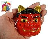 お面 豆オニ(赤) 約75mm 10枚入  / お楽しみグッズ(紙風船)付きセット [おもちゃ&ホビー]