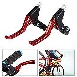 ブレーキレバー 自転車ブレーキレバー 左右レバーセット 軽量 アルミ合金製 (赤)