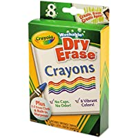 Dry Erase Crayons, Washable, Assorted, 8 per Pack by Crayola