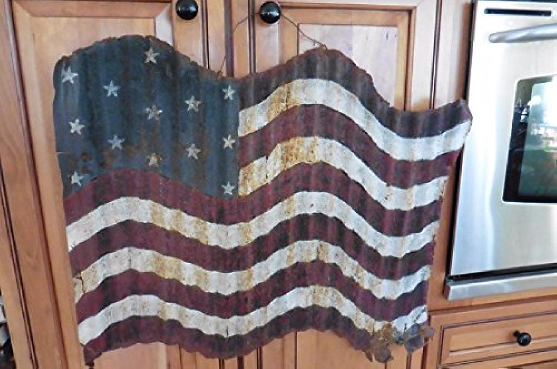 ハンドメイドTin Roofingアメリカ国旗メタルレッドホワイト&ブルーHand Painted Folk Art