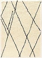 LinonモロッコShaggy Markeshブラック合成ラグ、8' x 10'、オフ/ホワイト