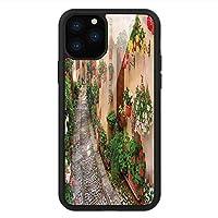 iPhone 11 Pro Max 用 強化ガラスケース クリア 薄型 耐衝撃 黒 カバーケース トスカーナ 素朴な木製のドアの花 iPhone 11 Pro 2019用 iPhone11 Pro Maxケース用