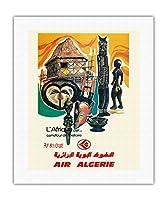 アフリカ - 歴史の十字路 - 空気アルジェリア - ビンテージな航空会社のポスター c.1950s - キャンバスアート - 41cm x 51cm キャンバスアート(ロール)