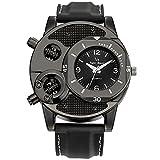 【パーフェクト人生】腕時計 超薄型 軽量 30M 防水 腕時計 革ベルト レザー アナログ クラシックメンズ高級ファッショアナログ 時計 (デザイン2【ブラック】)