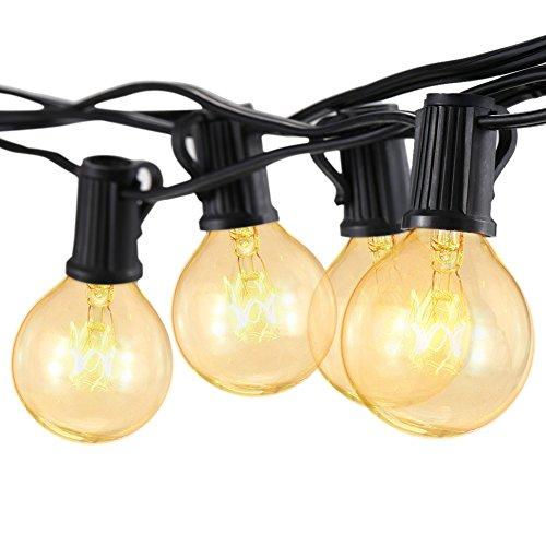 Tomshine AC110V 125W 25FT E12口金 25個*G40電球 ボールストリング 白熱イルミネーションライト 結婚式、ホームパーティー お誕生日パーティー クリスマスなどに最適 電飾 (電球色) UL認定済