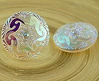 1個の手作りチェコガラスのボタン多結晶のAB花陽ガラスのボタンのサイズ18日40.5mm