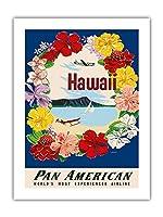 ハワイ - フラワーレイとダイヤモンドヘッドクレーター - パンアメリカン航空 - ビンテージなハワイの旅行のポスター によって作成された A・アムスポーカー c.1959 - アートポスター - 46cm x 61cm