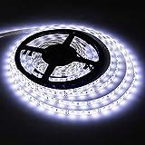 Waterproof Led Strip Lights SMD 3528 16.4 Ft (5M) 300leds 60leds/m White Flexible Tape Lighting Tape Lights for Boats, Bathro