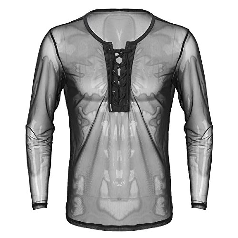 前提条件エンジンについて(フィーショー) FEESHOW シャツ メンズ 長袖 Yシャツ ストレッチ スリムシャツ シースルーシャツ メッシュ ロンT
