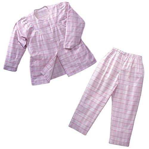 丸光産業 長袖綿パジャマ 婦人用 (身長150-160cm 胸囲79-87cm 胴囲64-70cm) ピンク