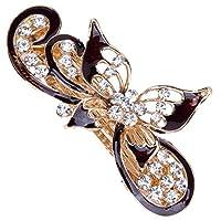 Bocoss - 韓国ヘアアクセサリーラインストーンのエレガントな蝶の花の形のヘアピン大型カラフルなクリスタルの花嫁ヘアクリップ[75E]