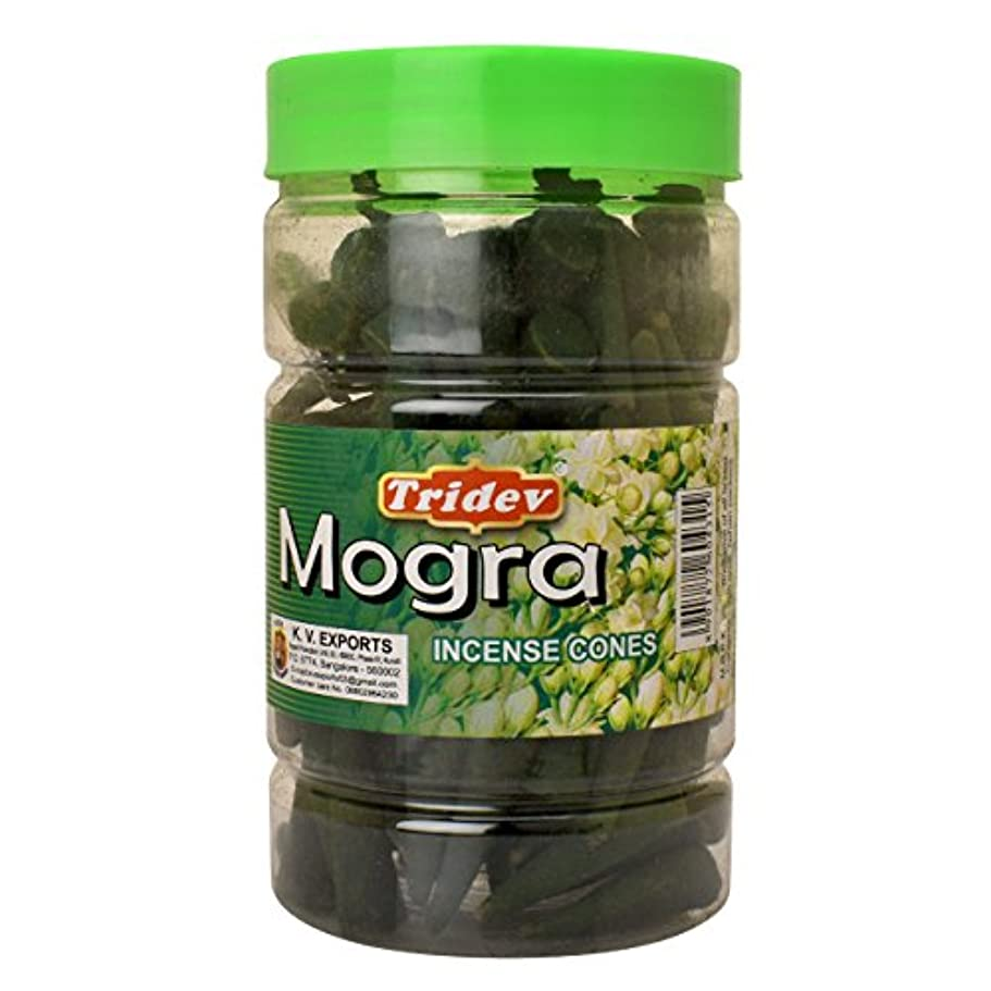 怒り大きい生き残りますTridev Mogra Incense Cones Jar 225グラムパック