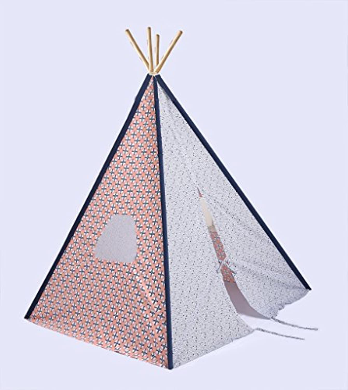 Bacati – Tribal Coral / Navy Kid 's折りたたみ式Teepee再生テント4 Strongの竹極