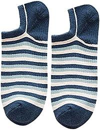 Shidori メンズ 靴下 綿 ソックス リブソックス 24-28cm ブルー