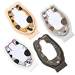 (moin moin) 付箋 ふせん メモ ジャンプ 猫 ねこ お腹 可愛い 立体 スタンド型 (三毛猫/黒ぶち/グレー/黒白)