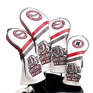 Guiote ゴルフヘッドカバー Golf head covers クラブヘッドカバー ウッドカバー ドライバー 新デザイン 交換可能な番号タグ付き(#2.#3.#4.#5.X) 4個セット (Bulldogs-White)