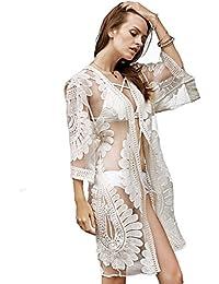 カバーUPSの水着、ビキニ女性のレースのかぎ針編み花柄カーディガンビーチドレス