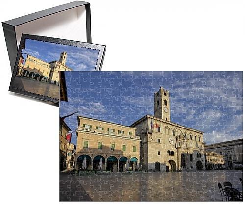 フォトジグソーパズルof Piazza del Popolo ( People s Square)、Ascoli Piceno、マルケ、イタリア、ヨーロッパ