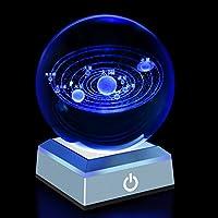 3Dレーザークリスタル 水晶玉80mm ledコースター付きクリスタルボール 八つ惑星太陽系模型 宇宙おもちゃ置物 LEDライト タッチセンサー式 誕生日プレゼント贈り物 子供天文愛好家に向きホーム寝室オフィスの装飾などに最適