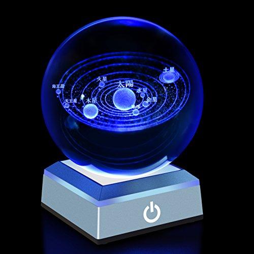3Dレーザークリスタル 水晶玉80mm ledコースター付きクリスタルボール...