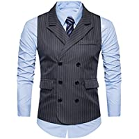 C2S Men's Peak Lapel Double Breasted Strips Handsome Casual Wedding Tux Vest
