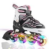 滑らかな乗り心地を実現 全ウィールが光る インラインスケート 子供用 ローラースケート ジュニア 男の子 女の子 サイズ調整可能 正規品 (ピンク×ブラック, S)
