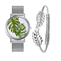 rainbabeシルバーカラーTropical Leavesメッシュストラップクォーツ腕時計ブレスレットジュエリーセットwithステンレススチール