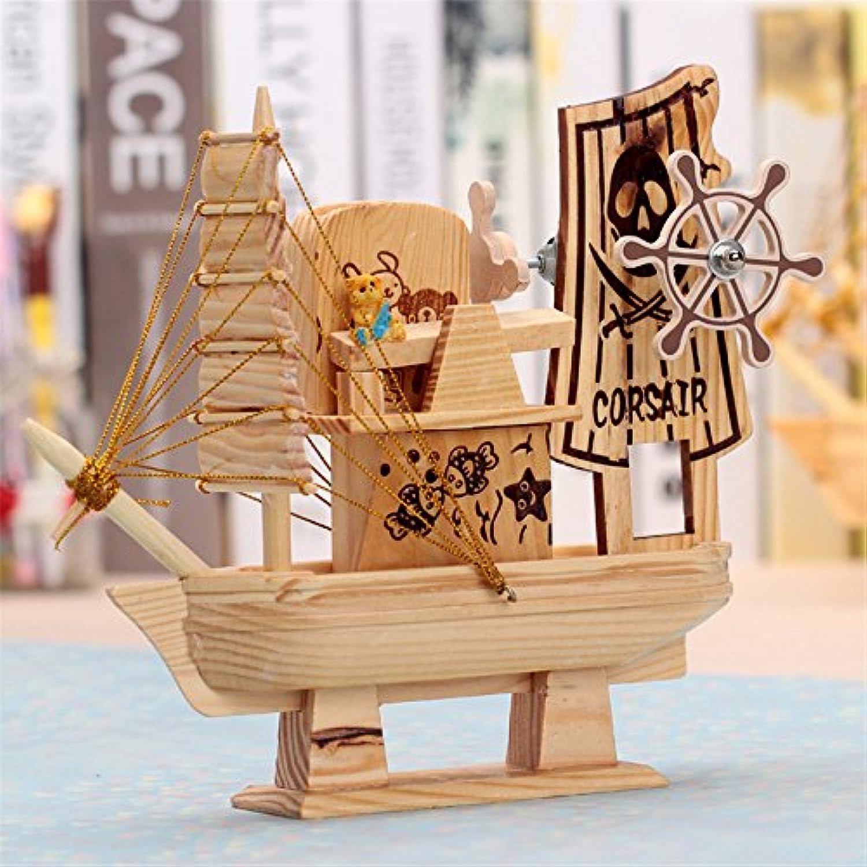 地中海スタイル木製Sailing Ship FigurinesハンドメイドモデルSail Boatギフト木製音楽ボックスホーム装飾工芸ギフトKangsanli