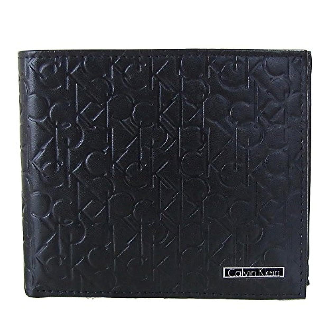 誇張不格好祭り(カルバンクライン)Calvin Klein  74285 ブラック ロゴ型押し 2つ折り財布  小銭入れ付き メンズ(並行輸入品)